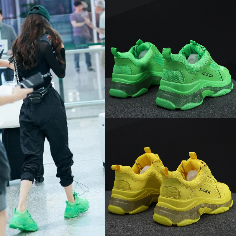 绿色厚底鞋 老爹鞋女ins潮绿色厚底鞋女荧光绿2020夏季新款休闲网红运动凉鞋_推荐淘宝好看的绿色厚底鞋