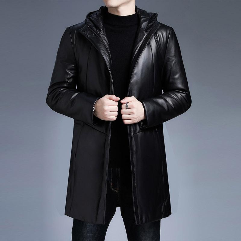 男士长款皮衣 黑色真皮羽绒服男中长款冬季2021新款韩版宽松连帽绵羊皮皮衣外套_推荐淘宝好看的男长款皮衣