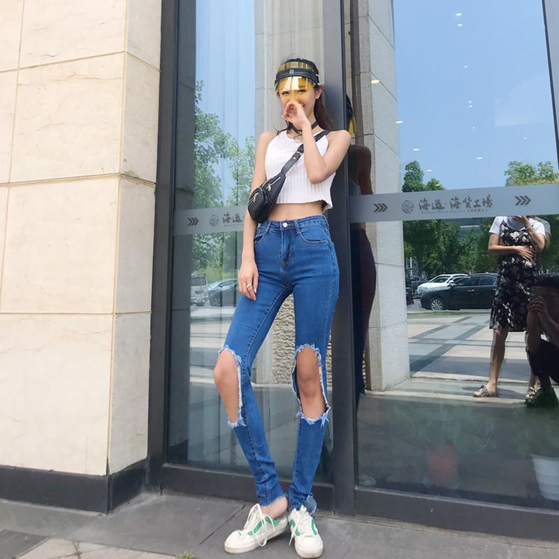 小脚牛仔裤 petty Elsa高个175加长牛仔裤女大破洞小脚裤秋2021新款韩版显瘦_推荐淘宝好看的女小脚牛仔裤