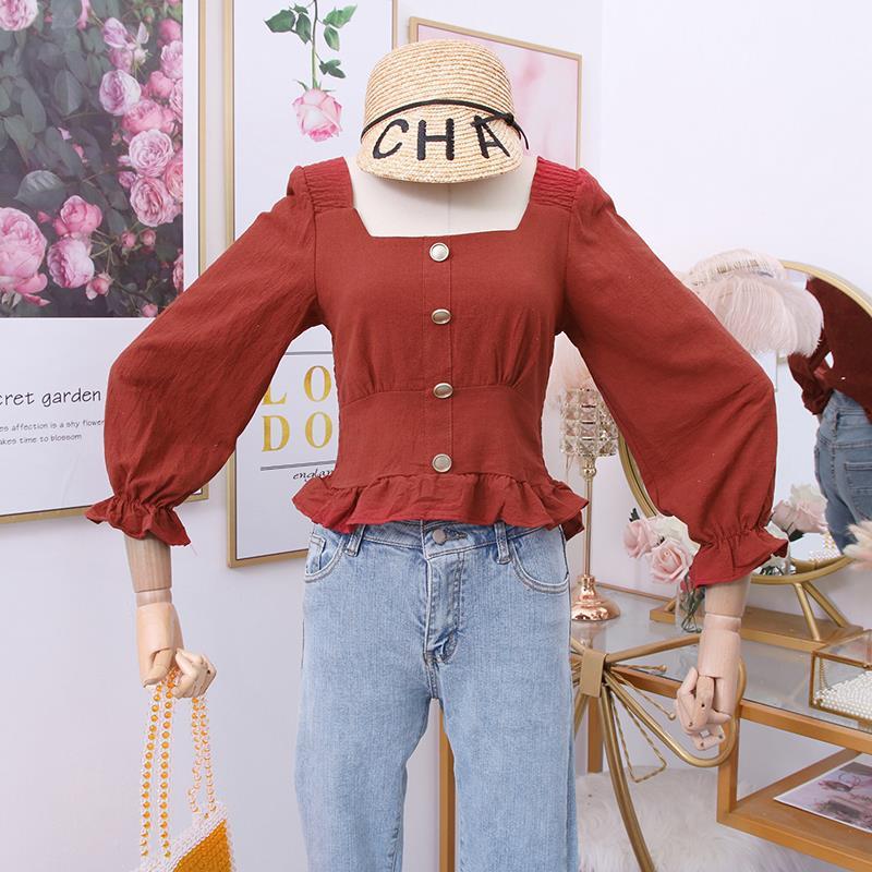红格子衬衫 2020秋季新款时尚百搭方领单排扣荷叶边下摆长袖格子衬衫上衣女_推荐淘宝好看的女红格子衬衫