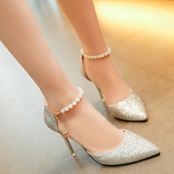 夏季高跟鞋 凉鞋女单鞋个性女款百搭尖跟伴娘夏季香槟色小姐气质银色潮细高跟_推荐淘宝好看的女夏季高跟鞋