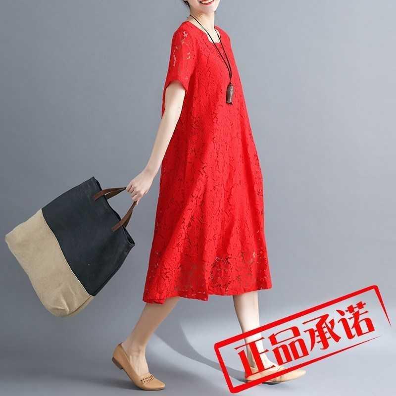 白色蕾丝连衣裙 蕾丝空花连衣裙2019好质量夏新款大码女装蕾丝连衣裙镂空圆领文艺_推荐淘宝好看的白色蕾丝连衣裙