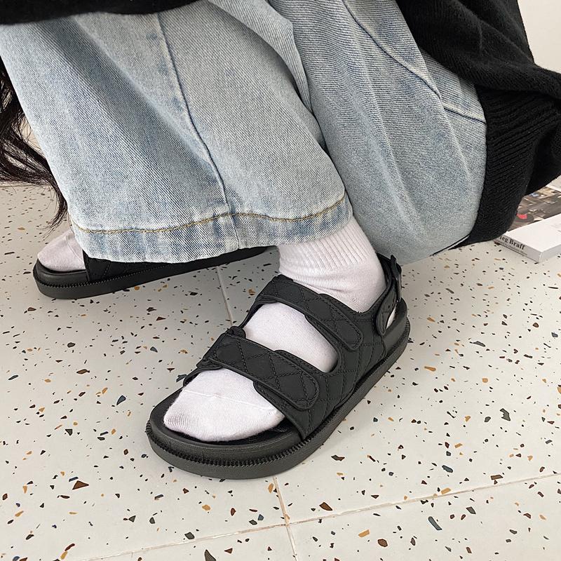 休闲平底罗马鞋 休闲双带黑色凉鞋韩版外穿百搭平底简约风女学生罗马沙滩凉鞋_推荐淘宝好看的女休闲平底罗马鞋