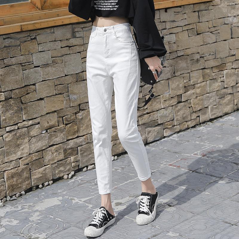 白色牛仔裤 白色牛仔裤女哈伦裤2021春秋新款韩版高腰显瘦弹力宽松九分萝卜裤_推荐淘宝好看的白色牛仔裤