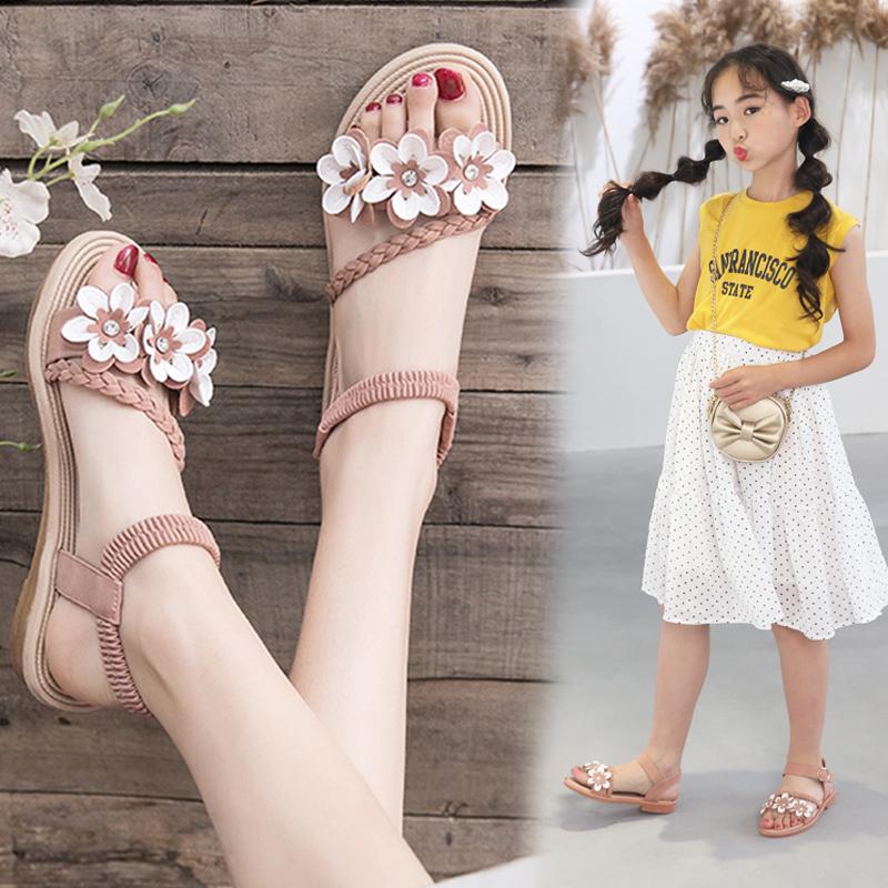 女士罗马鞋 女童凉鞋2020新款时尚夏季中大童儿童韩版学生小公主软底罗马凉鞋_推荐淘宝好看的女罗马鞋