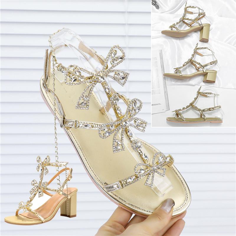 罗马高跟鞋 水钻凉鞋女仙女风夏 rc水晶蝴蝶结平底 粗跟 细带金色罗马 中高跟_推荐淘宝好看的女罗马高跟鞋