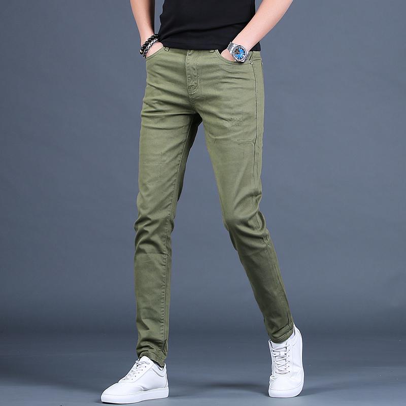 绿色牛仔裤 男士绿色高端牛仔裤男潮牌夏季修身弹力休闲小脚裤子韩版潮流长裤_推荐淘宝好看的绿色牛仔裤