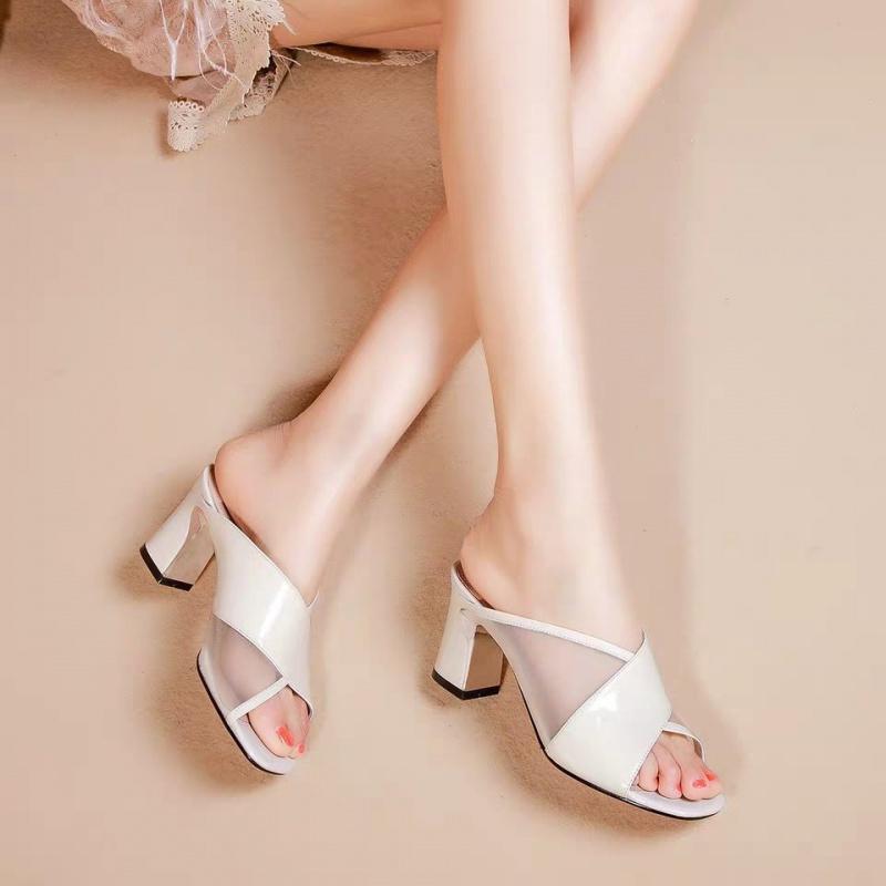 夏季高跟鞋 上3夏季新款性感粗跟镂空鱼嘴高跟拖鞋女网纱女士凉拖外穿一字拖_推荐淘宝好看的女夏季高跟鞋