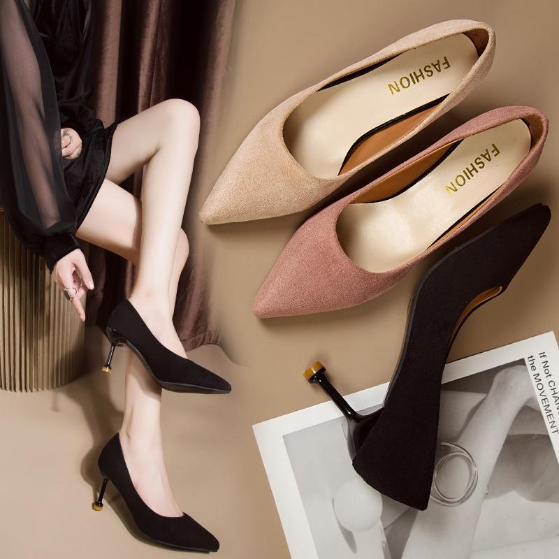 黑色高跟鞋 高跟鞋女名媛风2019秋季新款小清新细跟单鞋韩版尖头工作鞋女黑色_推荐淘宝好看的黑色高跟鞋