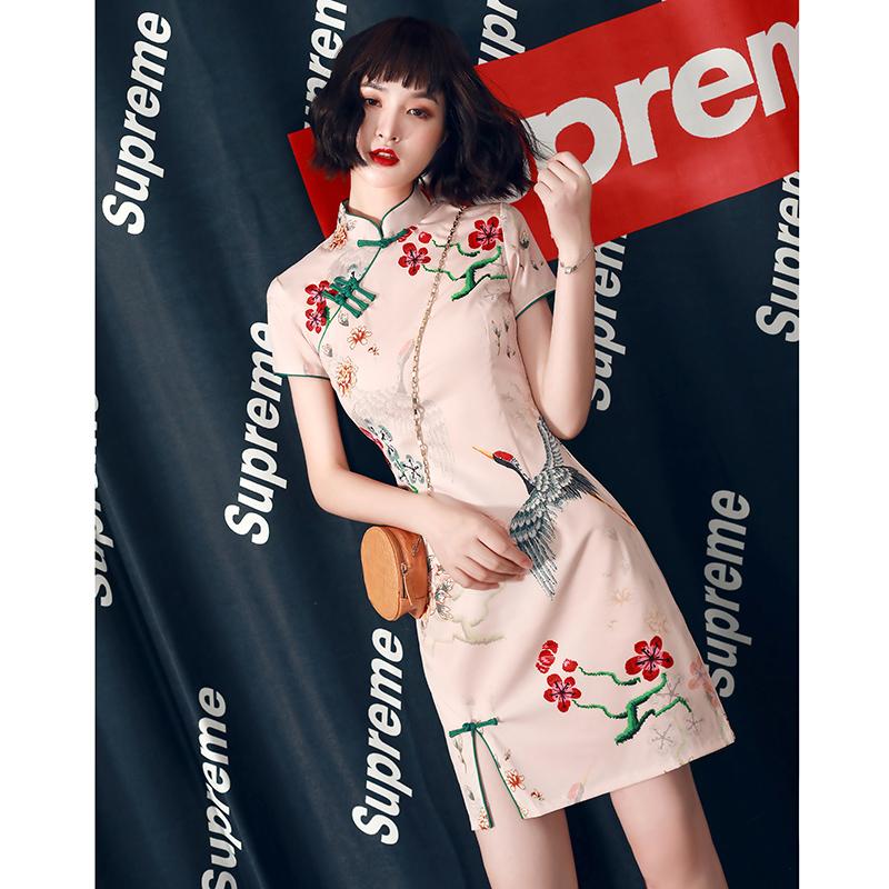 红袖雪纺连衣裙 旗袍夏季年轻款2021年新款改良版国潮炸街连衣裙少女感小个子短款_推荐淘宝好看的红袖雪纺连衣裙