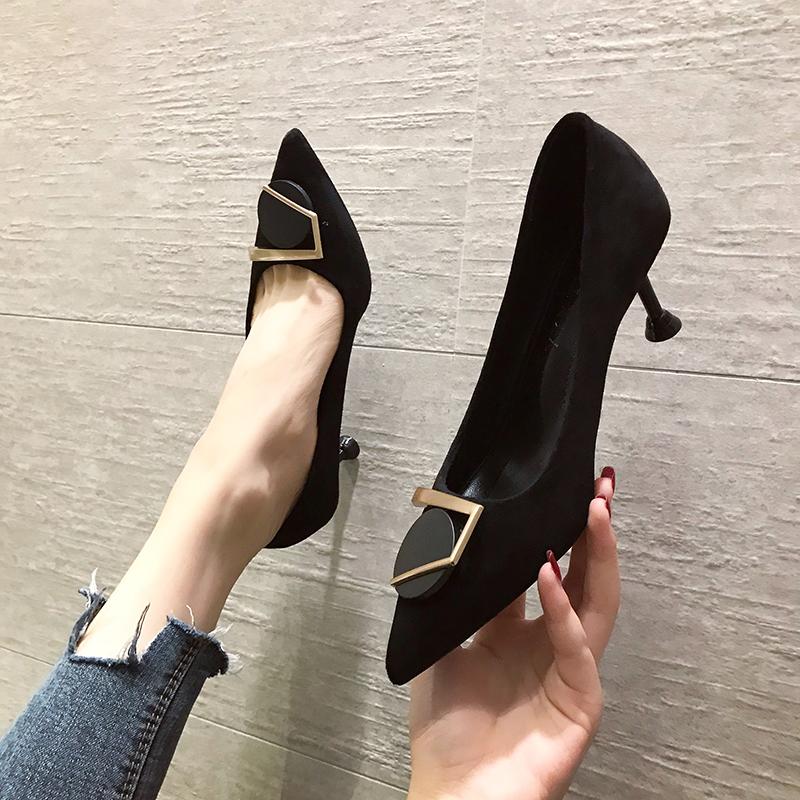 高跟单鞋 绒面法式少女尖头黑色高跟鞋女细跟2019新款性感百搭仙女风小单鞋_推荐淘宝好看的女高跟单鞋