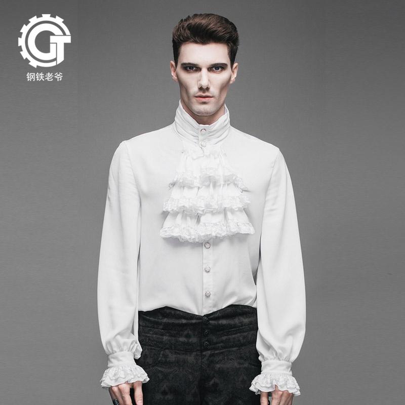 男装衬衫 钢铁老爷复古蒸汽朋克英伦哥特GOTHIC潮男装纯白衬衫高领衬衣修身_推荐淘宝好看的男衬衫