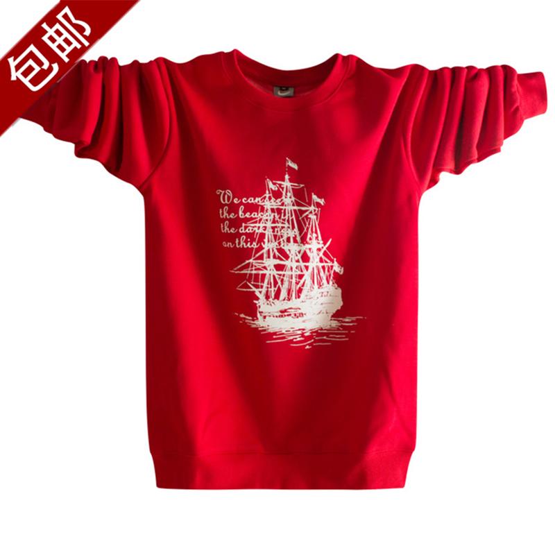 红色T恤 21春秋装13岁男孩14初高中学生15青少年纯棉长袖t恤男红色打底衫_推荐淘宝好看的红色T恤