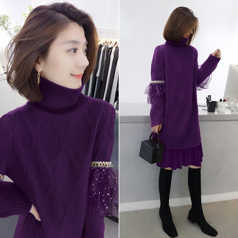 紫色连衣裙 欧洲站冬季女装2020新款欧货潮时尚中长款紫色针织打底毛衣连衣裙_推荐淘宝好看的紫色连衣裙