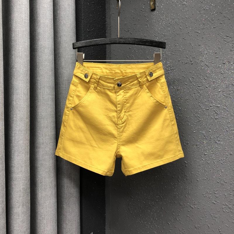 黄色牛仔裤 欧洲站黄色牛仔短裤女2020夏季高腰宽松显瘦直筒百搭A字阔腿热裤_推荐淘宝好看的黄色牛仔裤