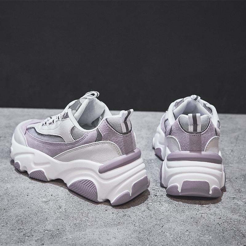 紫色厚底鞋 环球运动休闲鞋女2020年春季新款百搭厚底增高老爹鞋紫色潮鞋子_推荐淘宝好看的紫色厚底鞋