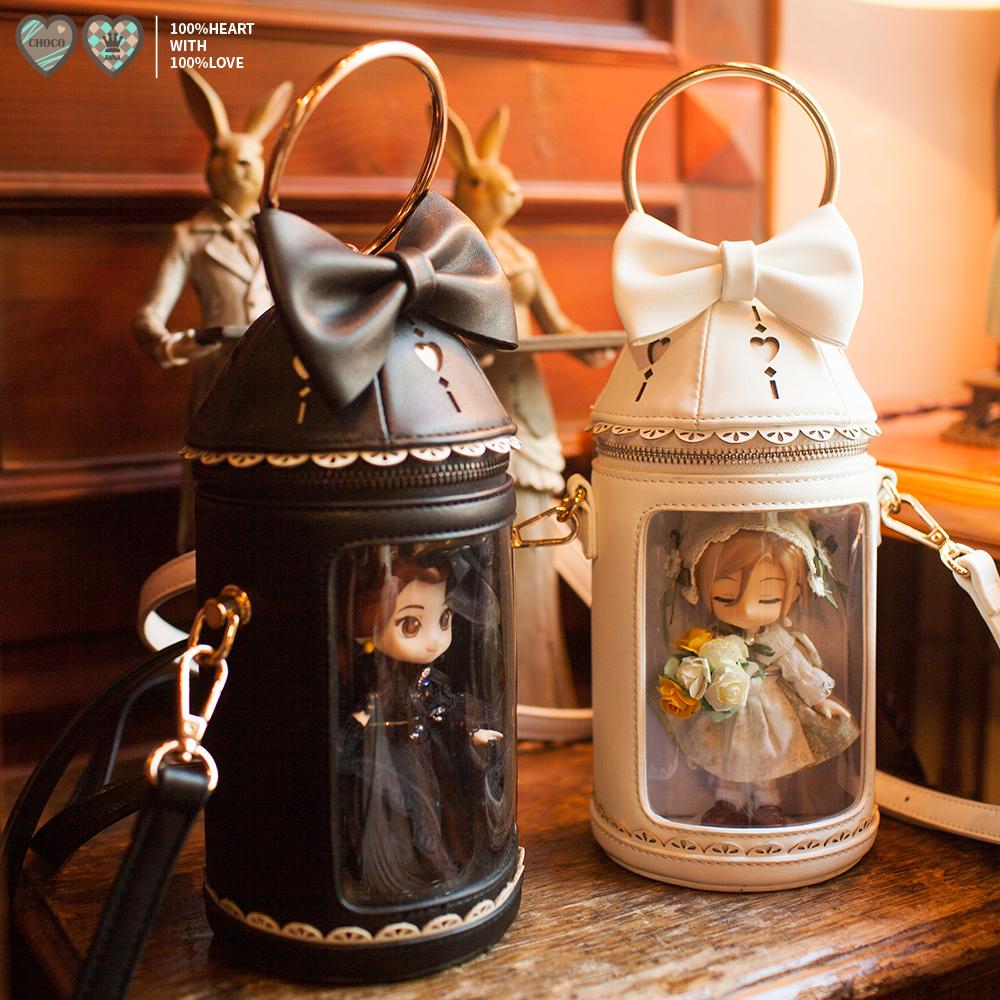 黑色水桶包 谜喏诺原创手拎包痛包水桶包棉花娃娃ob11黑色手提包lolita爱心pu_推荐淘宝好看的黑色水桶包