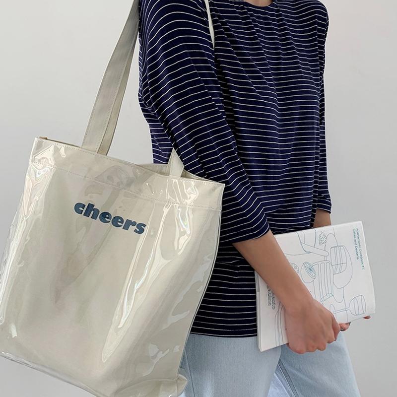 帆布包包 帆布单肩ins风韩版日系透明PVC防水大容量学生上课简约潮女士包袋_推荐淘宝好看的女帆布包包