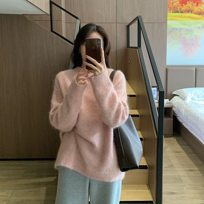 粉红色针织衫 粉红色宽松外穿毛衣法式慵懒风加厚套头针织衫秋冬2021年新款女装_推荐淘宝好看的粉红色针织衫
