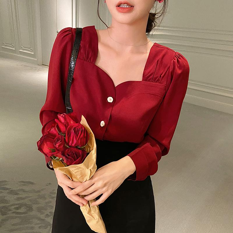 红色衬衫 岛歌夫人法式复古宫廷风长袖气质衬衣衬衫锁骨红色方领上衣女显瘦_推荐淘宝好看的红色衬衫