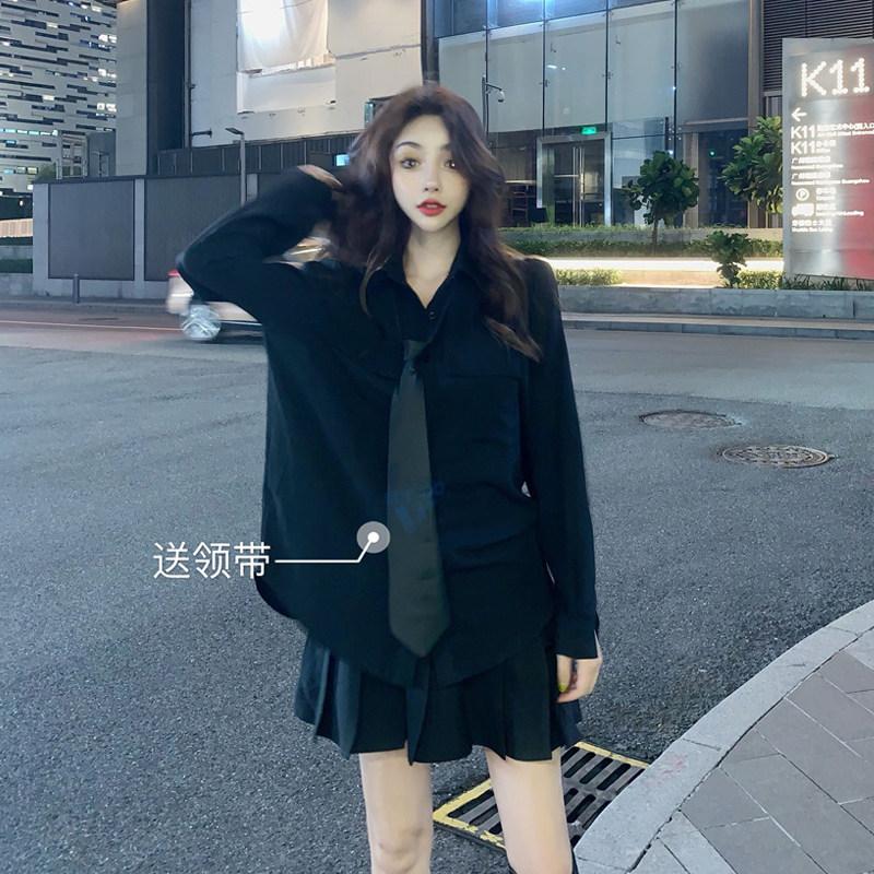 长袖衬衣 秋季2019新款设计感小众宽松洋气长袖衬衫女送黑领带暗黑系百褶裙_推荐淘宝好看的女长袖衬衣