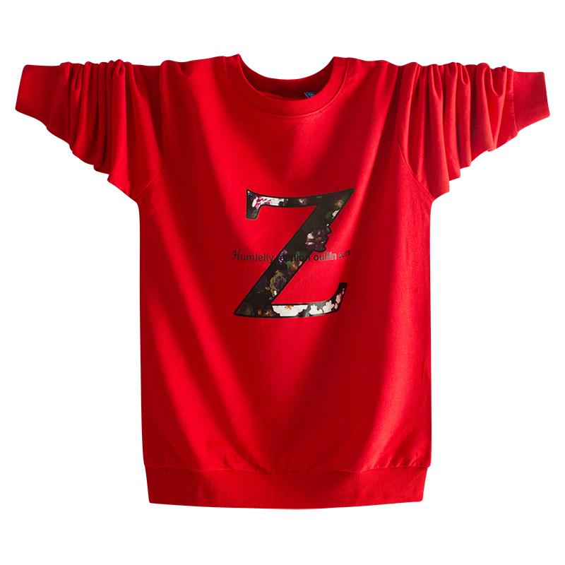 红色T恤 中国风纯棉长袖T恤春秋季薄卫衣男 加大码青少年高中学生秋衣红色_推荐淘宝好看的红色T恤