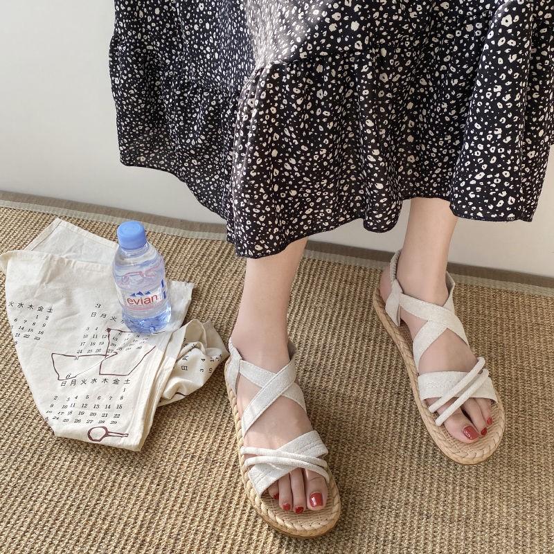 黄色罗马鞋 凉鞋女仙女风ins潮2020新款夏季时尚百搭学生韩版平底罗马鞋_推荐淘宝好看的黄色罗马鞋