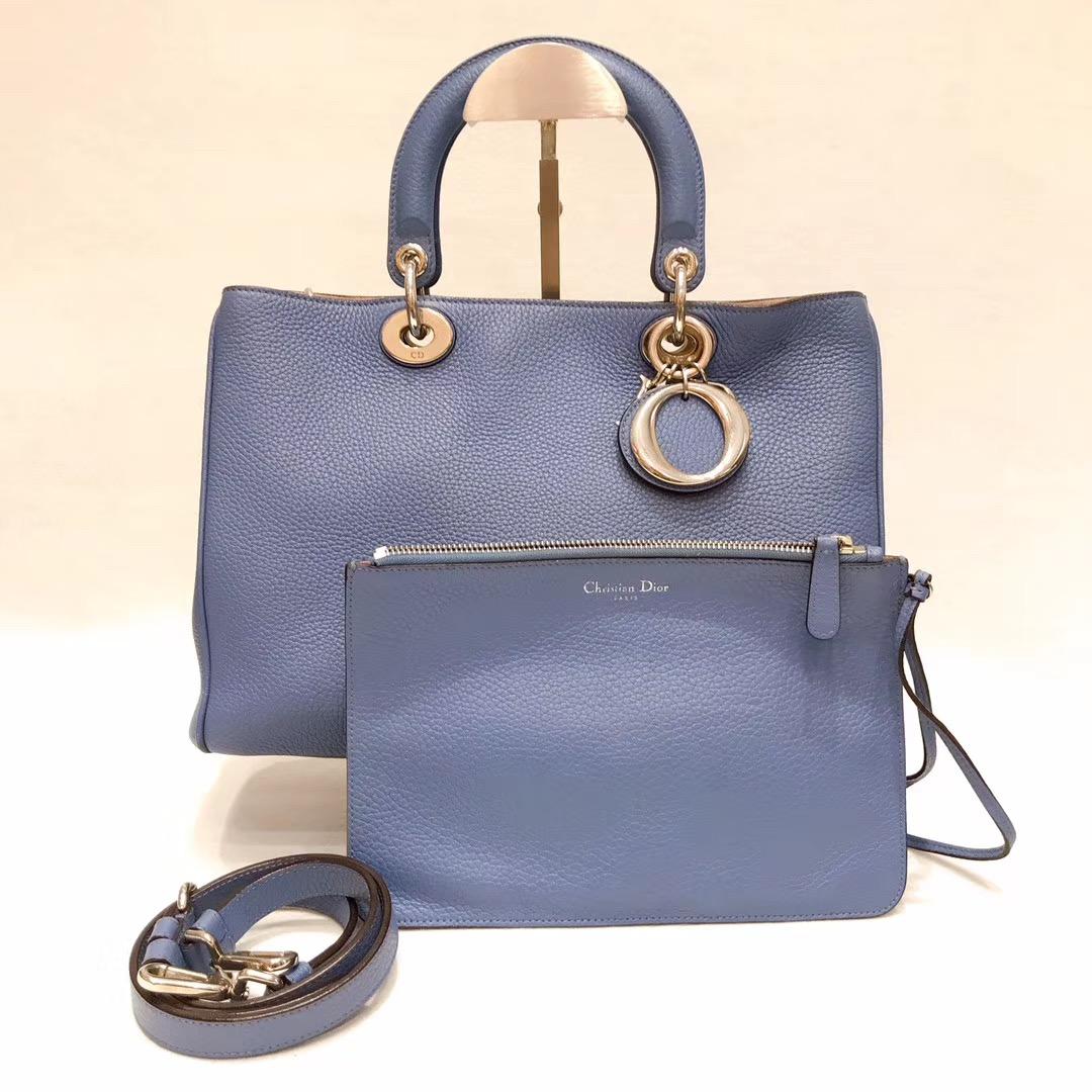 迪奥手提包 闲鱼优品 Dior diorissimo vip 牛仔蓝拼色手提单肩包子母袋_推荐淘宝好看的迪奥手提包
