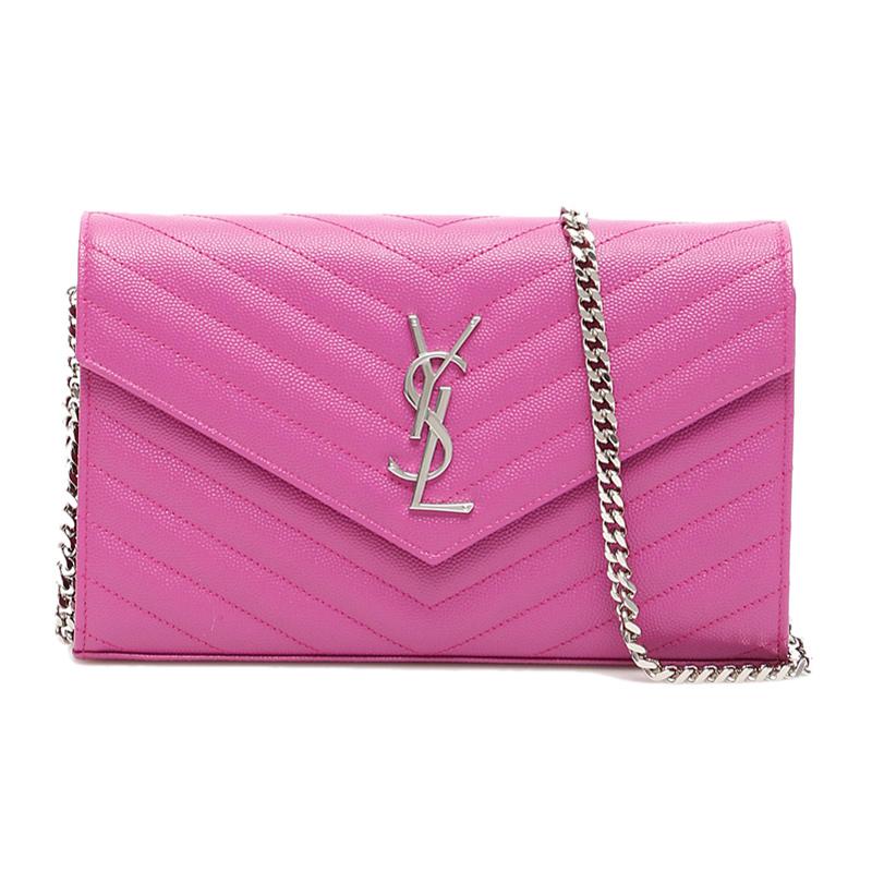 ysl链条包 YSL圣罗兰女士粉色链条斜挎包377828-BOW02-5627_推荐淘宝好看的ysl链条包