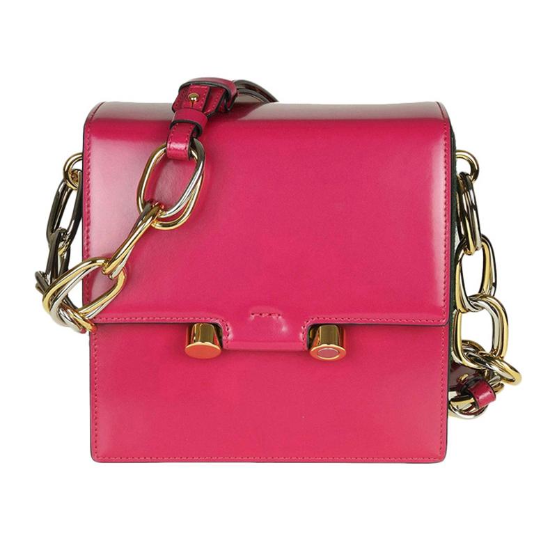 粉红色链条包 Marni玛尼 女包粉红色皮质超大链条小方包单肩包斜跨包_推荐淘宝好看的粉红色链条包
