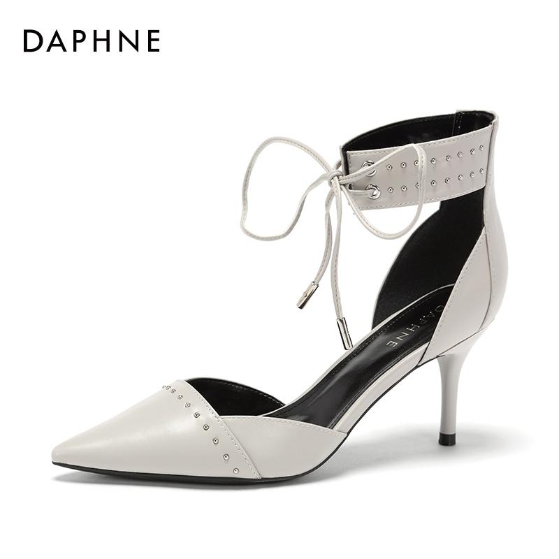达芙妮罗马鞋 Daphne达芙妮系带中空单鞋女浅口尖头高跟罗马鞋1018102049_推荐淘宝好看的达芙妮罗马鞋