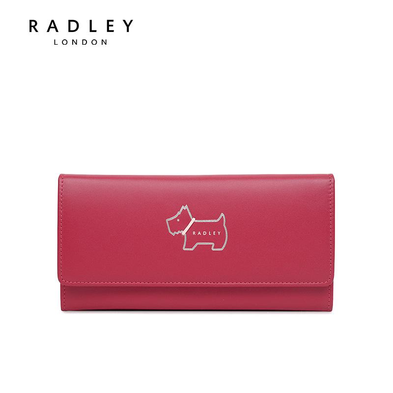 红色钱包 Radley牛皮翻盖钱包长款红色钱包英国狗狗图案卡包女包S1771464_推荐淘宝好看的红色钱包