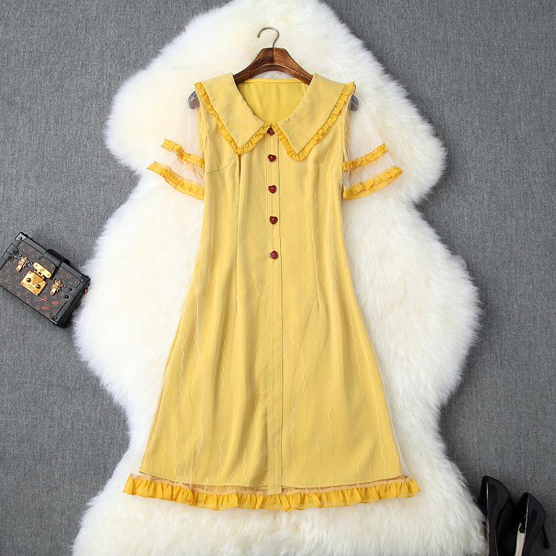 娃娃领短袖连衣裙 2020春夏女装新款甜美娃娃领短袖显瘦木耳边网纱减龄连衣裙T9967_推荐淘宝好看的娃娃领短袖连衣裙