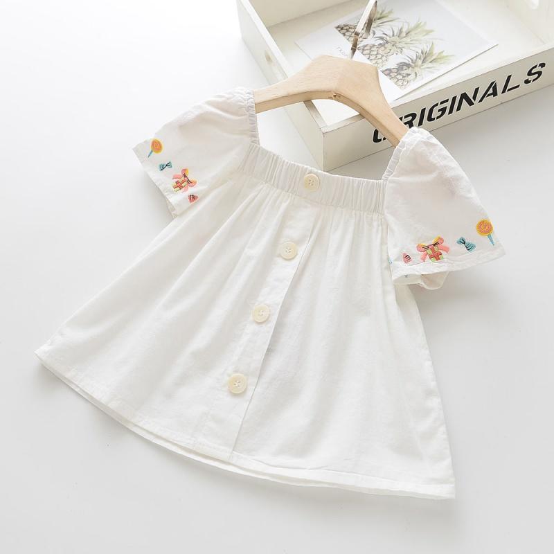 短袖牛仔衬衫 夏季新款宝宝童装中小童仿牛仔刺绣女童连肩纯棉短袖上衣白色衬衫_推荐淘宝好看的女短袖牛仔衬衫