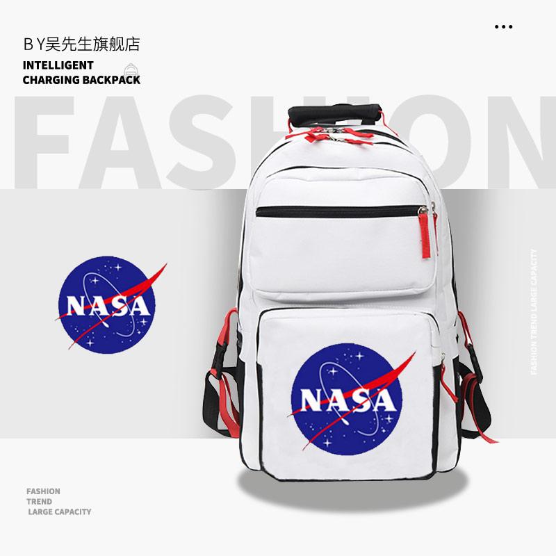 学生双肩包 宇航局火星救援标志宇航员NASA学生休闲多层包大容量男女双肩背包_推荐淘宝好看的女学生双肩包