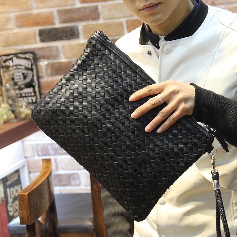 黑色信封包 潮男个性牛皮平板电脑信封包 韩版黑色编织手拿包手袋男包潮_推荐淘宝好看的黑色信封包