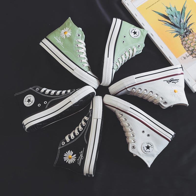 帆布鞋 高帮帆布鞋女2020春季新款韩版学生跑步板鞋女百搭平底街拍女鞋子_推荐淘宝好看的女帆布鞋