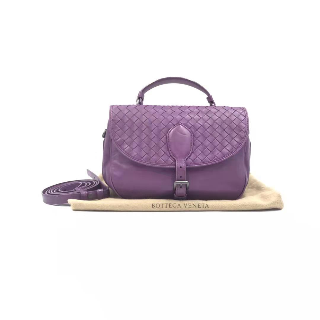 紫色邮差包 悦品汇【中古优品】二手 BV紫色编织邮差单肩包手提包 639346200_推荐淘宝好看的紫色邮差包