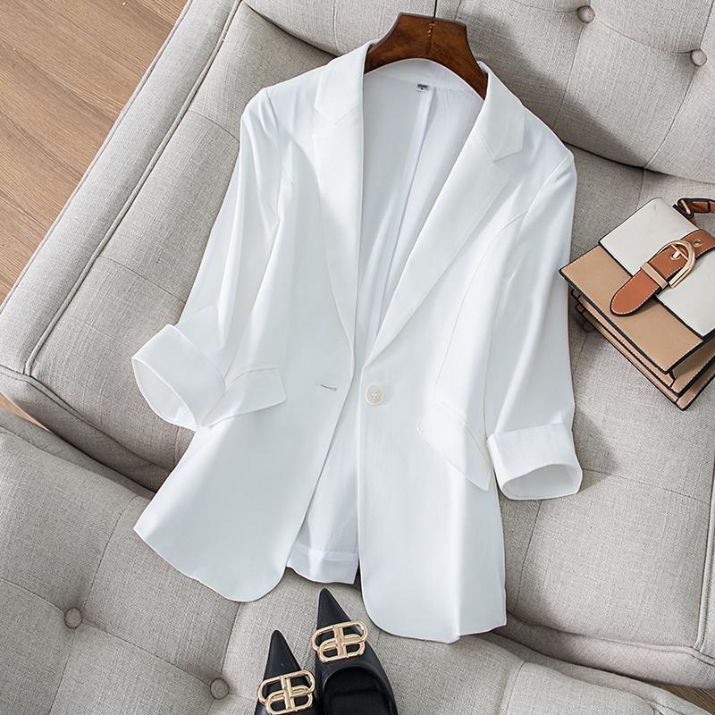 白色小西装 白色天丝亚麻小西装外套女春夏薄款韩版修身显瘦气质女士西服上衣_推荐淘宝好看的白色小西装
