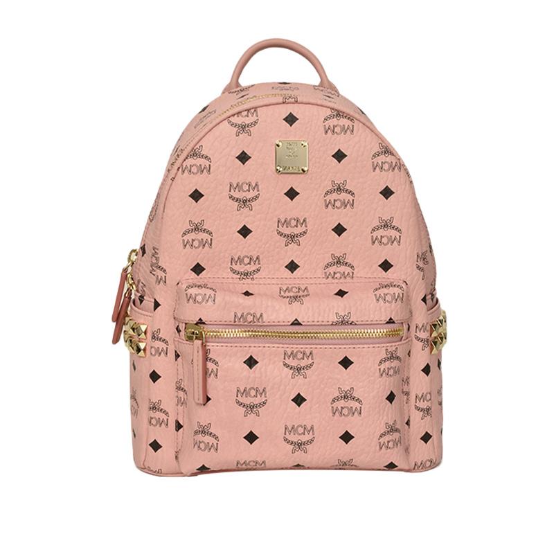 粉红色双肩包 MCM女士经典可爱铆钉粉红色双肩背包时尚印花潮流女包_推荐淘宝好看的粉红色双肩包
