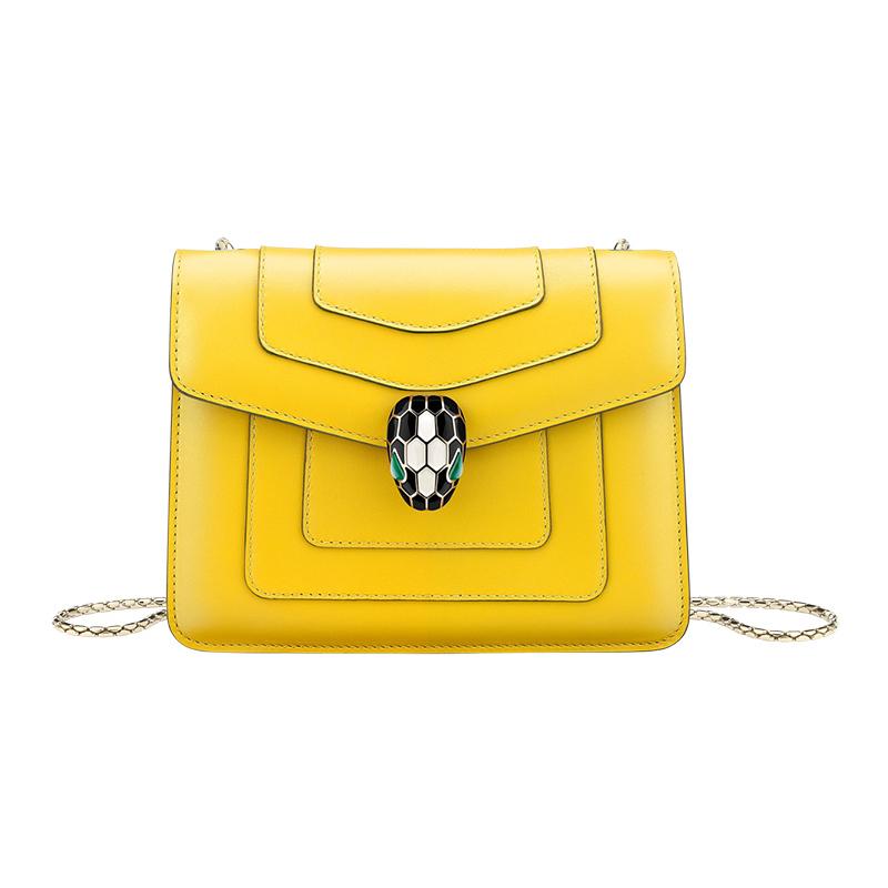 黄色链条包 BVLGARI宝格丽  女士黄色皮质蛇头扣环链条单肩包时尚百搭斜挎包_推荐淘宝好看的黄色链条包