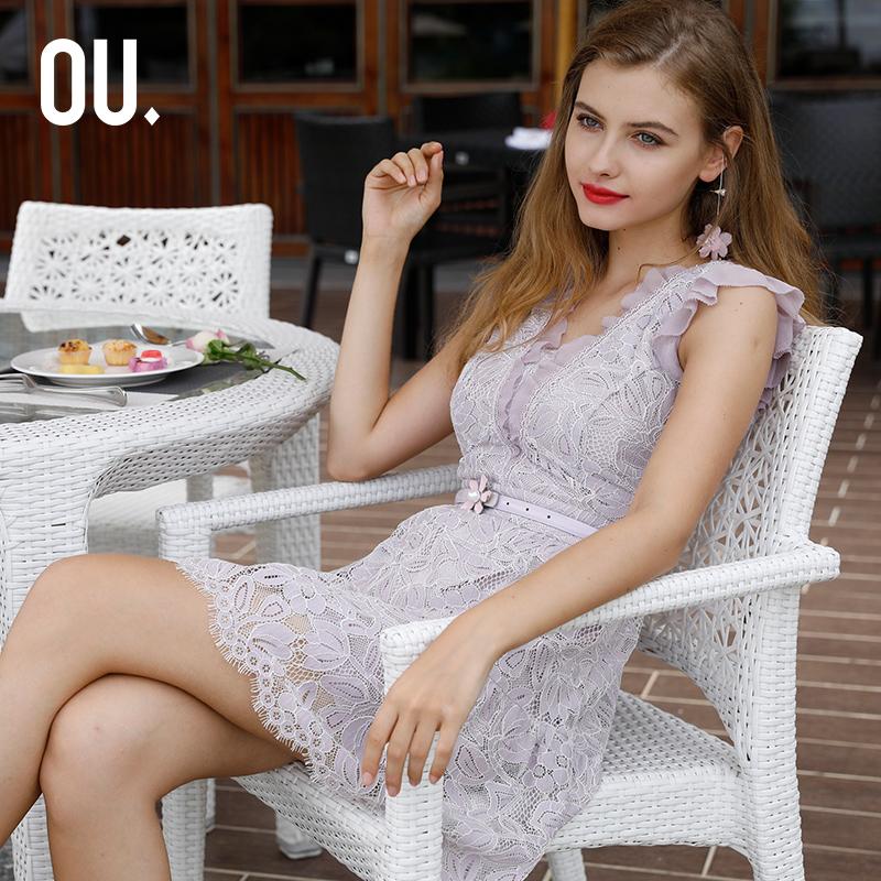 蕾丝连衣裙 经典款 OU.欧点浪漫蕾丝短袖连衣裙1192131003_推荐淘宝好看的蕾丝连衣裙