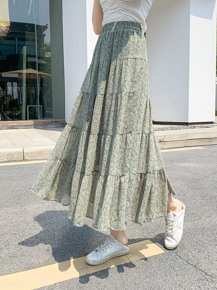 绿色雪纺半身裙 绿色碎花裙半身裙长裙夏季到脚踝女2021新款高腰中长款雪纺a字子_推荐淘宝好看的绿色雪纺半身裙