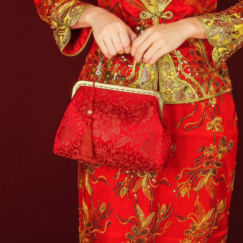 红色钱包 结婚新娘手包婚庆婚礼用品大红色喜庆手提包装礼金钱包化妆包_推荐淘宝好看的红色钱包