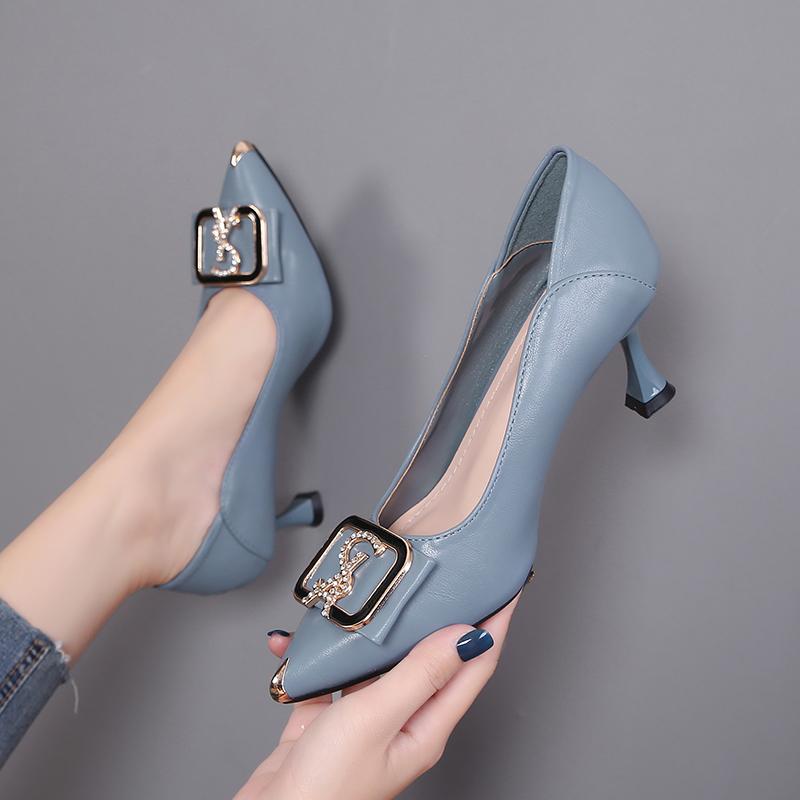 达芙妮尖头鞋 优足达芙妮高跟鞋女细跟2021新款百搭浅口尖头水钻真皮中跟单鞋女_推荐淘宝好看的达芙妮尖头鞋