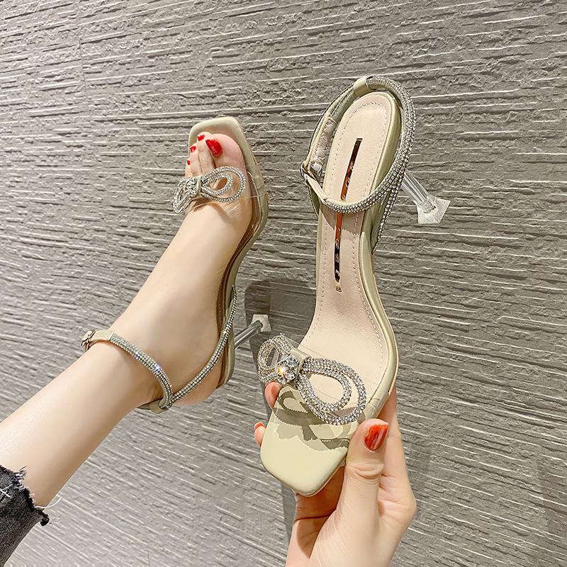 淘宝网高跟鞋 韩版细跟女高跟凉鞋2021夏季新款一字带水钻媛风方头性感高跟单鞋_推荐淘宝好看的女高跟鞋