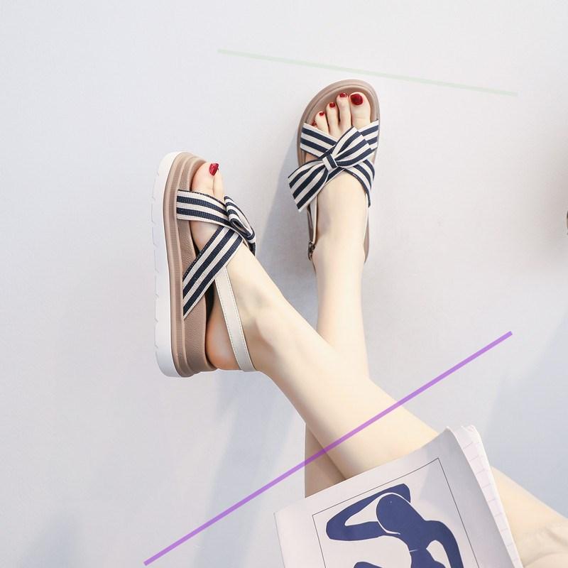 坡跟罗马鞋 2021年新款百搭平底仙女风罗马增高厚底凉鞋女坡跟松糕甜美小个子_推荐淘宝好看的坡跟罗马鞋
