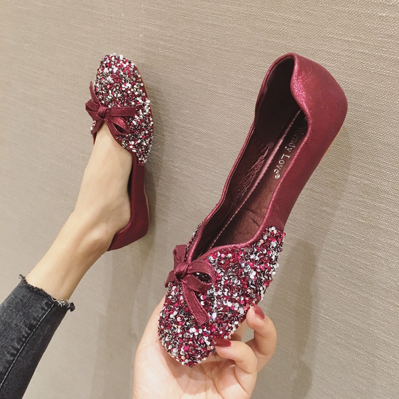 紫色豆豆鞋 豆豆鞋女2020春季新款紫色百搭仙女亮片平底四季单鞋方头大码女鞋_推荐淘宝好看的紫色豆豆鞋