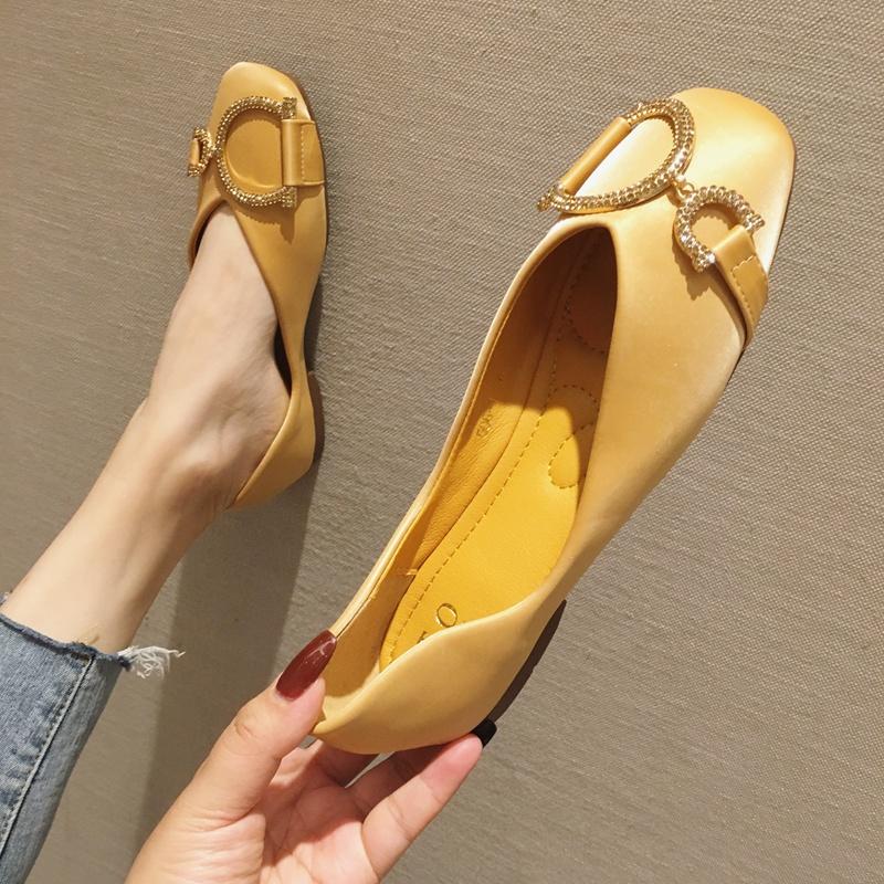 黄色豆豆鞋 豆豆鞋女2021新款韩版黄色单鞋女四季平底鞋百搭方头软底大码女鞋_推荐淘宝好看的黄色豆豆鞋
