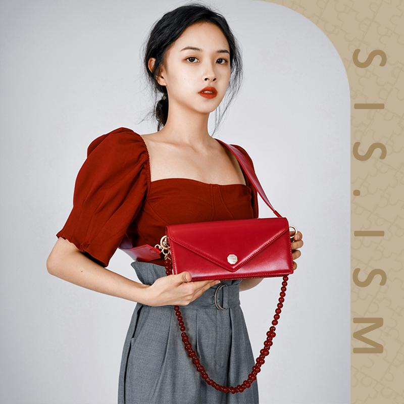 红色信封包 SISISM姐妹主义2021新款牛皮信封包链条小方包红色新娘斜挎婚包_推荐淘宝好看的红色信封包